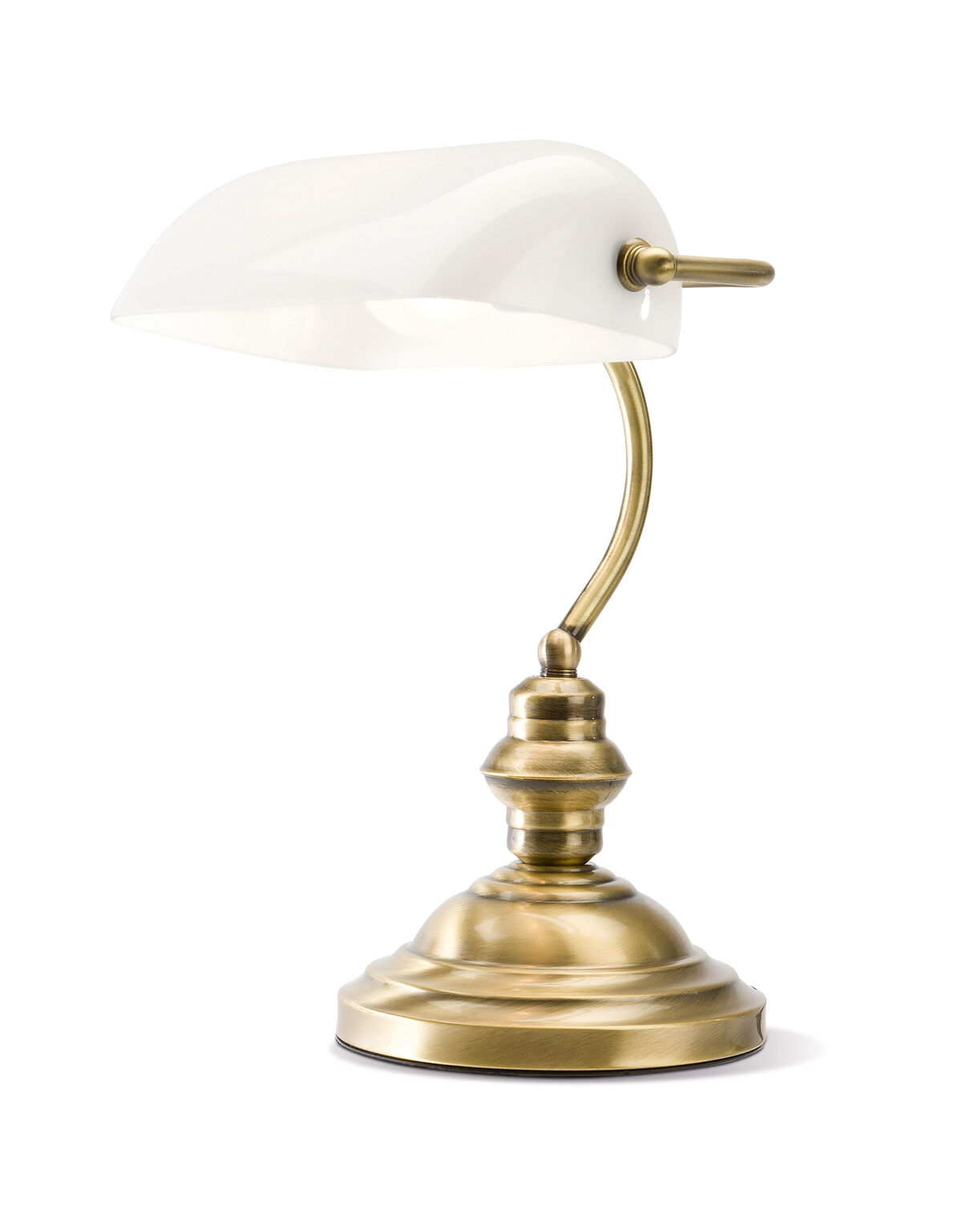 WILMER LAMPADA DA TAVOLO IN OTTONE BRUNITO CON VETRO BIANCO
