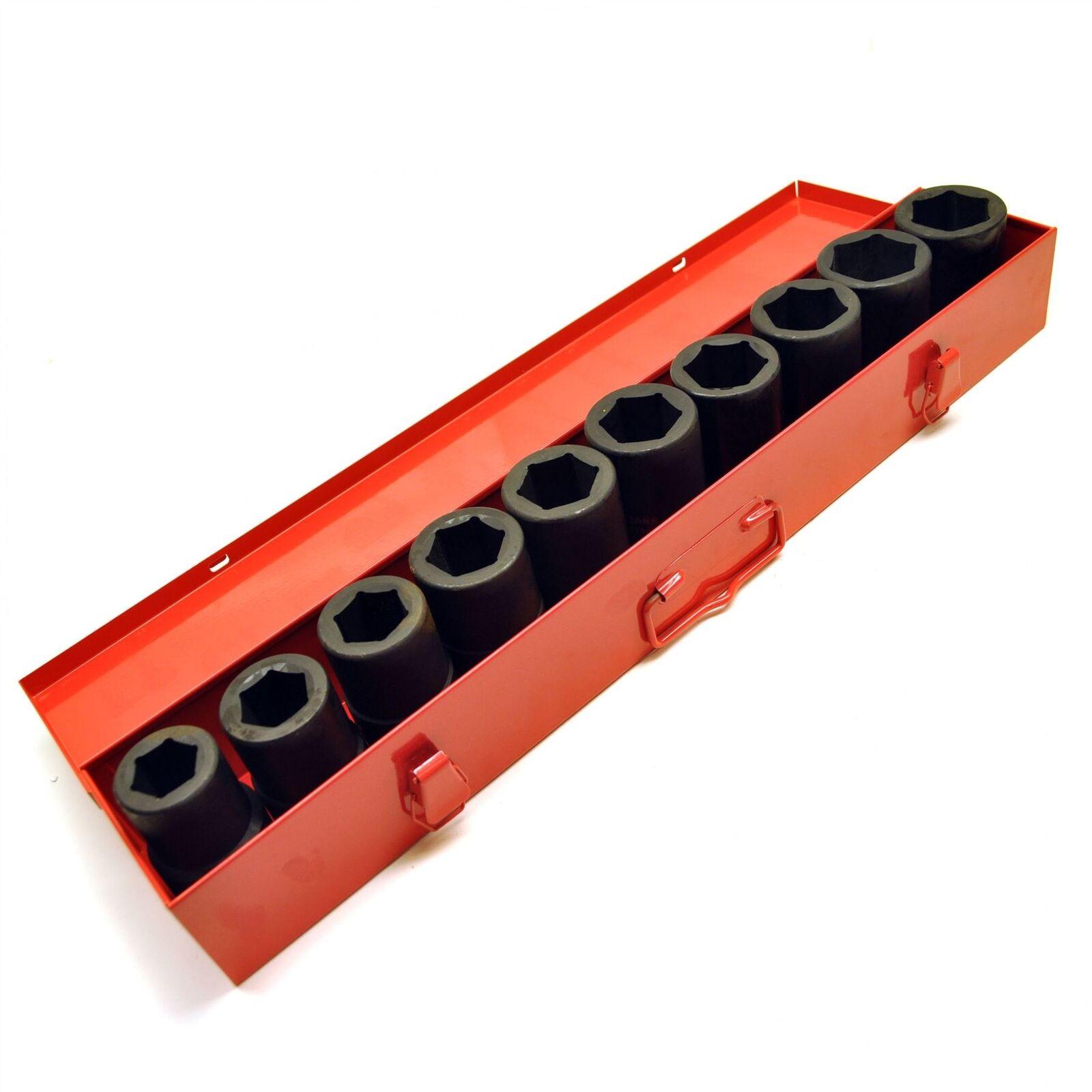 10pc Deep Hex Impact Socket Set Metric 1  dr Sockets 22mm to 50mm 6 Sided TE317