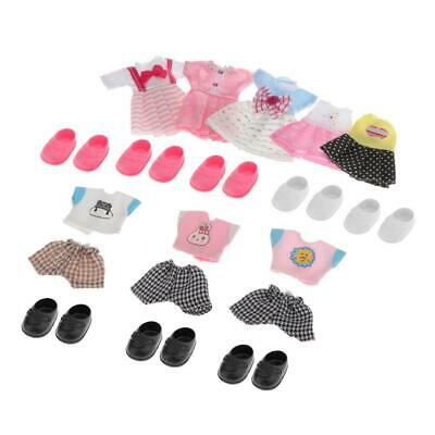 Fashionable 16cm 1//12 Girl Doll Mini Clothes Shoes Outfits Dress up Clothing