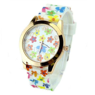 Exquisite Geneva Silicone Printed Flower Watch Women Girls Causal Quartz Watches