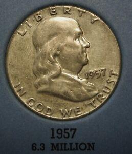1957 50c Franklin Silver Half Dollar US Coin Average Circulated