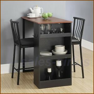 Details about Bar Height Dining Set Table Chairs Counter 3 Piece Kitchen  Breakfast Furniture