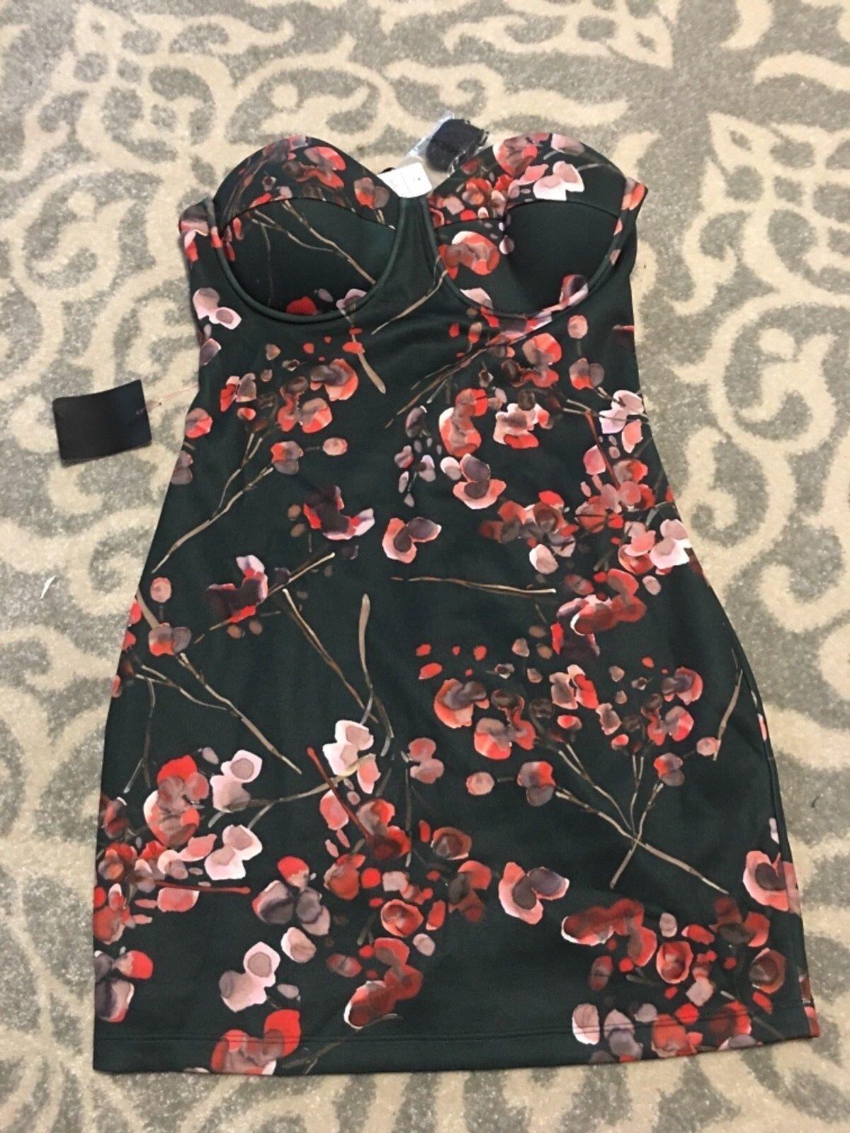 NWT bebe schwarz floral strapless midi bustie bodycon dress 10