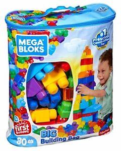 Mega Bloks Big Building Bag 80-Piece Classic Building Set Play Kids Toddler NEW