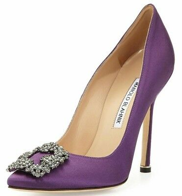 965 New Manolo Blahnik Hangisi 105 Lavender Purple Satin Shoes Jeweled 40 5 41 Ebay