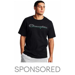 Champion Mens Jersey T-Shirt Tee Split Script Logo Athletics Short Sleeve Cotton