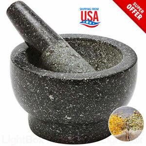 Molcajete-Tejolote-Stone-Granite-Mortar-amp-Pestle-Guacamole-Utensil-Hierbas-Mexican