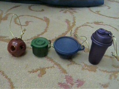 NEW SET OF 4 TUPPERWARE ORNAMENTS WITH GOLD HANGERS MINI NEW IN PACKAGE