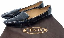 Tod's 37,5 Tods Schuhe Lackleder Slipper Mokassins 37 1/2 Loafers schwarz  shoes
