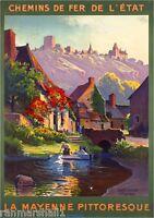 1930s La Mayenne Pittoresque France French European Travel Poster Advertisement