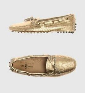 CAR-SHOE-by-PRADA-mocassins-loafers-mocassini-scarpe-donna-oro-37-38-BNIB