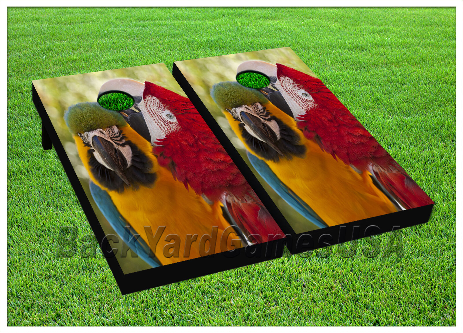 VINYL CORNHOLE BEANBAG Tropical Yellow and Red Parred Boards 1043