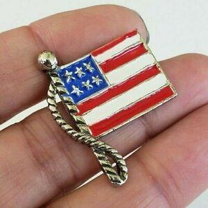 Vintage-Small-Enamel-USA-Flag-Pin-Silver-Tone