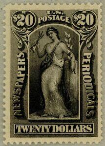 US-Scott-PR123-VF-XF-Jumbo-OG-1895-20-Newspaper-stamp-watermarked-sound