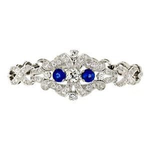 Antique-Art-Deco-Platinum-GIA-Round-Diamond-Sapphire-Infinity-Leaf-Link-Bracelet