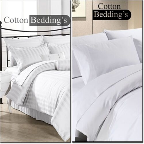 Best Price 800TC UK 100% Egyptian Cotton Hotel Bedroom White in Solid & Striped