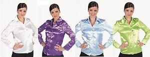 50er-60er-70er-Jahre-Bluse-Kleid-Kostuem-Rock-n-Roll-Petticoat-Damen-Satin-Hemd