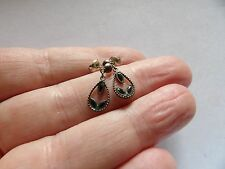 Sterling silver enamel delicate drop earrings for pierced ears W86-108