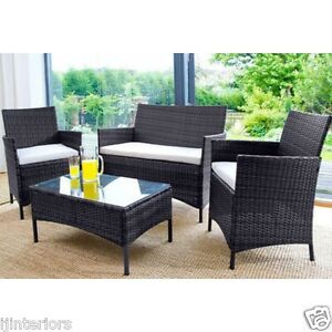 dcd3e270fd3 RATTAN GARDEN FURNITURE SET 4 PIECE CHAIRS SOFA TABLE OUTDOOR PATIO ...