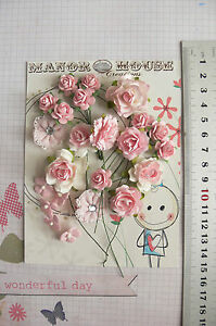 PASTEL-PINK-23-Flowers-amp-Roses-4-Tones-4-Styles-PAPER-amp-FABRIC-15-28mm-HH3