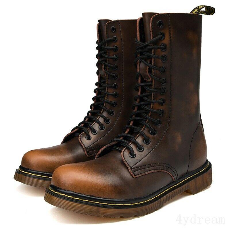 Para hombres Cuero High Top Punta rojoonda Vintage Con Cordones Trabajo Informal botas al tobillo de combate