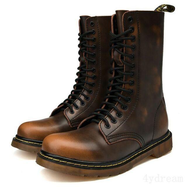 e1a873d86c5 Mens Leather High Top Round Toe Vintage Lace Up Work Casual Combat Ankle  Boots
