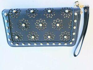 Fashion Bling Embellished Wrist Clutch Wallet Double Zip Rhinestone Studded New
