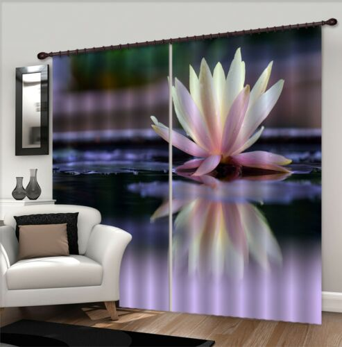3D Bloom Lotus Blockout Photo Curtain Printing Curtains Drapes Fabric Window AU