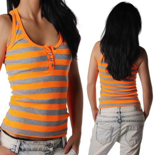 Damen Trägertop Tanktop Träger Top ärmellos Shirt getreift neon orange 32-34