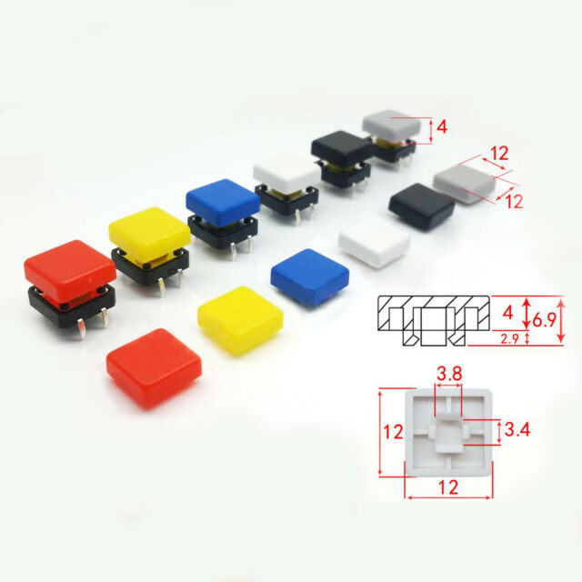 Round Cap 3.4x3.8mm Inner Diameter 7 Colors for PCB Tactile Push Button Switches
