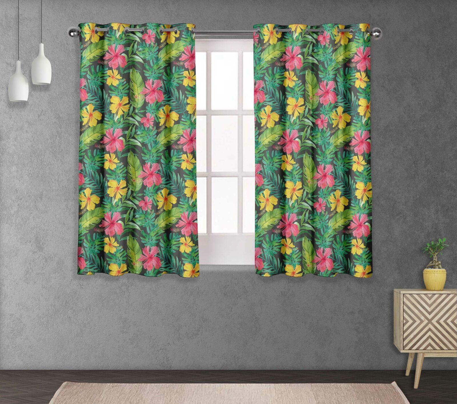 S4sassy Leaves & Double Panel Window Treatment Curtain -FL-687D