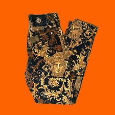 "Vintage Versace 1970s medusa baroque gold print high waist  jeans size UK 6 24"""