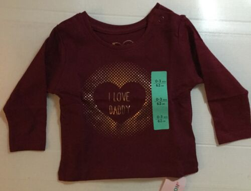 Baby Boys Burgundy T Shirt with I Love Daddy  Detail