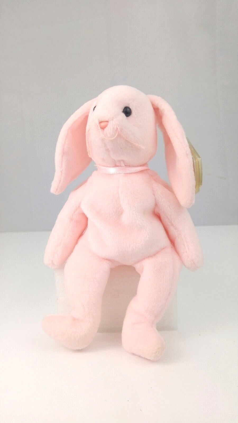 Ty Beanie Baby Hoppity Retired Rare Flawed tag, many Errors. 1996 pink rabbit