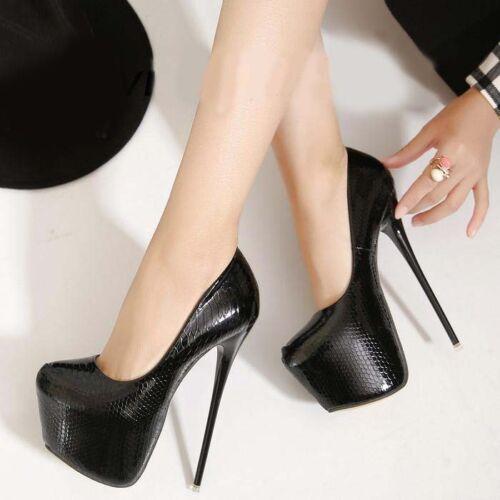 Femme Chic 17 cm super Talons Hauts Escarpins Plateforme Clubwear Stilettos Lady Chaussures #
