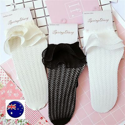 Women Lady Girl Retro Frilly layers Ruffle Lace Fancy ankle shoes Short Socks