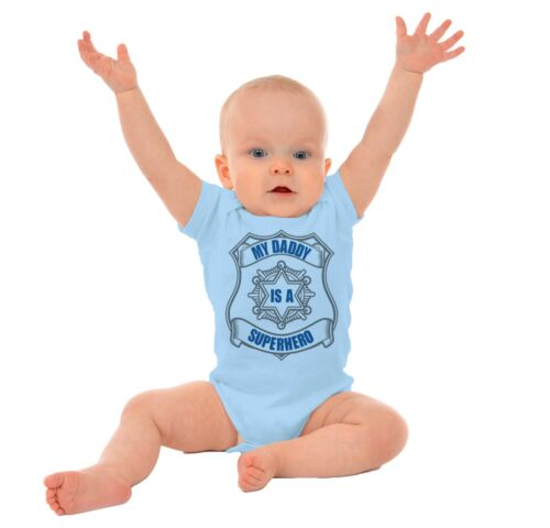 My Daddy Is A Superhero Gerber OnesiePolice Blue Lives Fathers Baby Romper