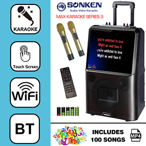 SONKEN MAX PORTABLE KARAOKE SYSTEM + 100 KARAOKE HIT SONGS FROM 00'S
