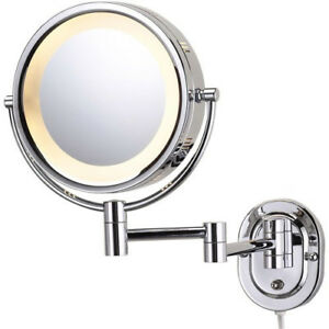 Light Mirror Wall Mount Chrome Finish Round Steel Halo 5x