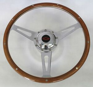 60-69-Chevrolet-Pick-Up-GT-9-hole-Retro-Steering-Wheel-Black-Red-Bowtie-15-034