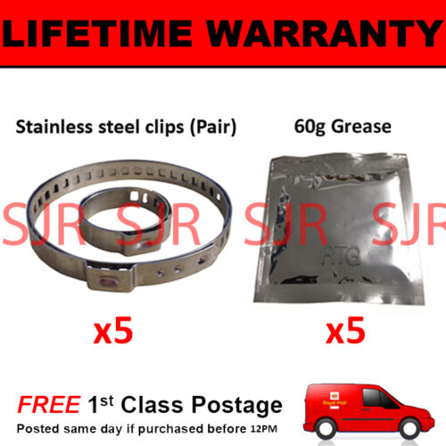 CV BOOT CLAMPS PAIR INNER OUTER x5 CV GREASE x5 UNIVERSAL FITS ALL CARS KIT 2.5