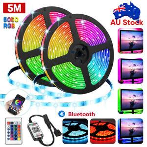RGB-LED-Strip-Lights-IP65-Waterproof-5050-5M-300-LEDs-12V-Bluetooth-Controller
