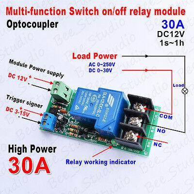 tablero de temporizador de retardo Fafeicy 30A DC 12V M/ódulo de rel/é de temporizaci/ón de retardo