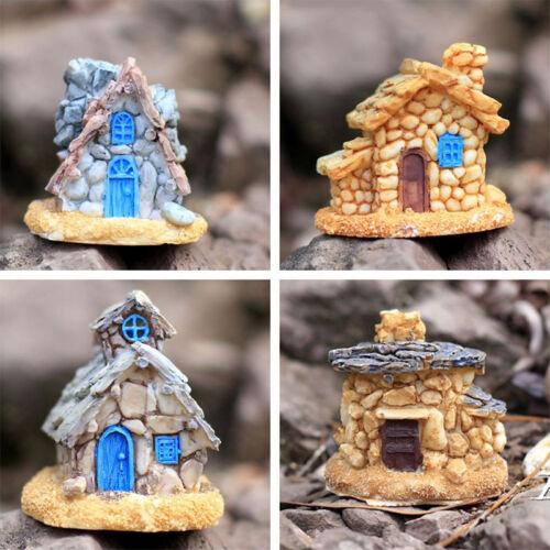 4Pcs feenhafter Garten-Miniaturstein-Haus-Figur-Fertigkeit-Mikrolandschaftsdekor