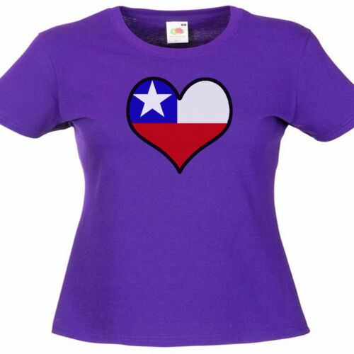 Chile Love Heart Flag Ladies Lady Fit T Shirt 13 Colours  Size 6-16