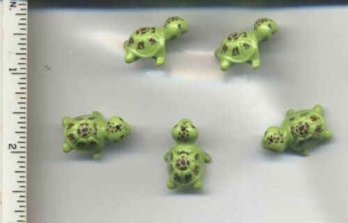 LEGO x 5 Lime Turtle with Reddish Brown Spots Pattern NEW animal reptile 41019