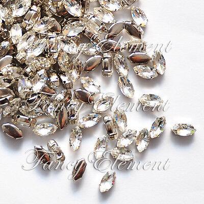 48 Rhinestone 4200 5x10mm Sew On Clear Crystal Navette Fancy Stone Element Lot