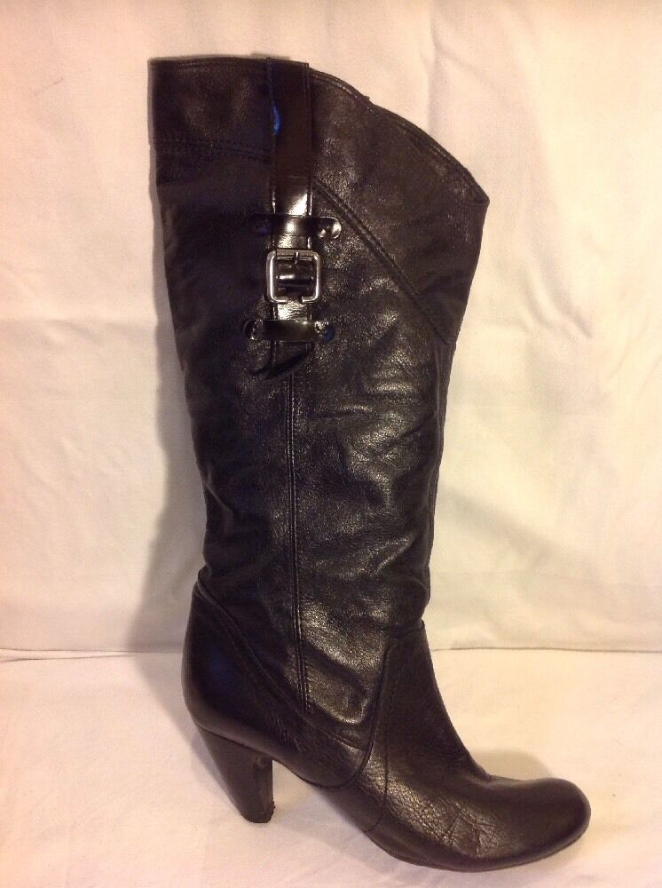 Aldo Black Mid Calf Leather Boots Size 39