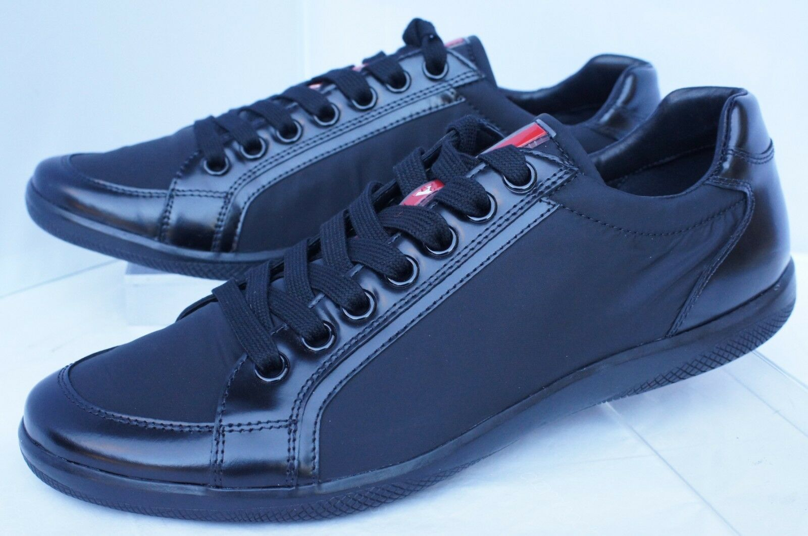 1823fb6c2298 PRADA Mens Tennis Shoes Black SNEAKERS Size 7 Calzature Uomo Lace up for  sale online