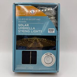 Destination Summer Solar Umbrela String Lights 8 LED 50 in Strands